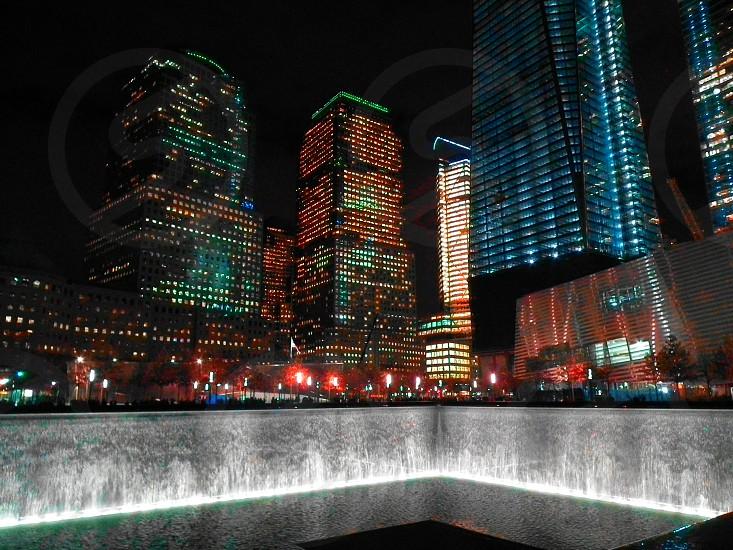 city buildings at night photo