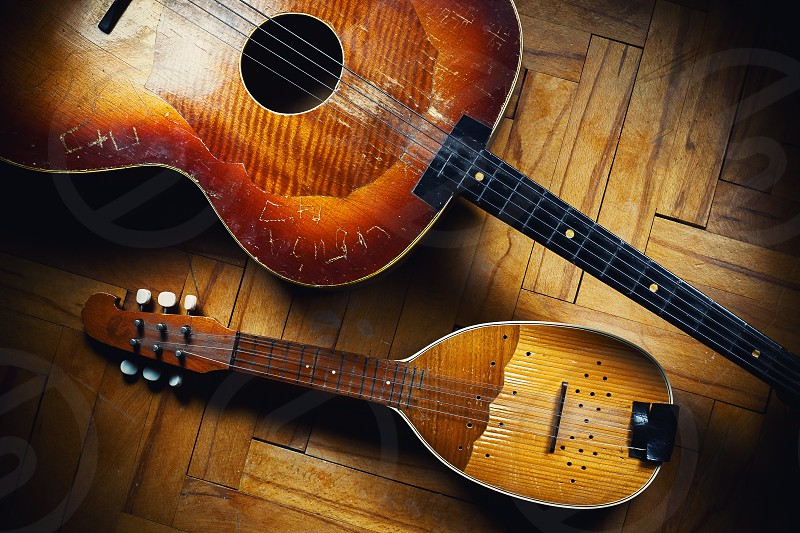 String instruments called tamburica smaller one is prim tamburica and bigger guitar like is cello.  photo