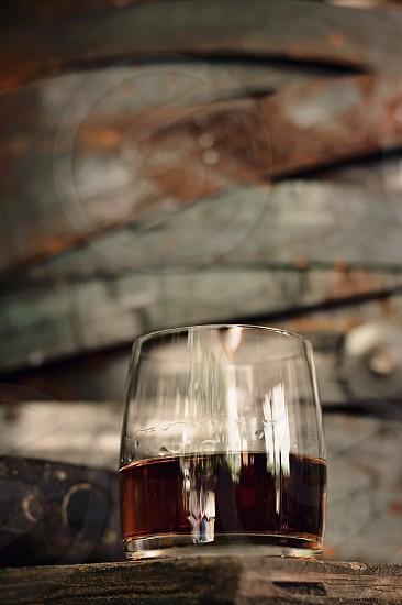 wood bourbon barrel metal rings glass liquor cocktail rustic drink scotch photo