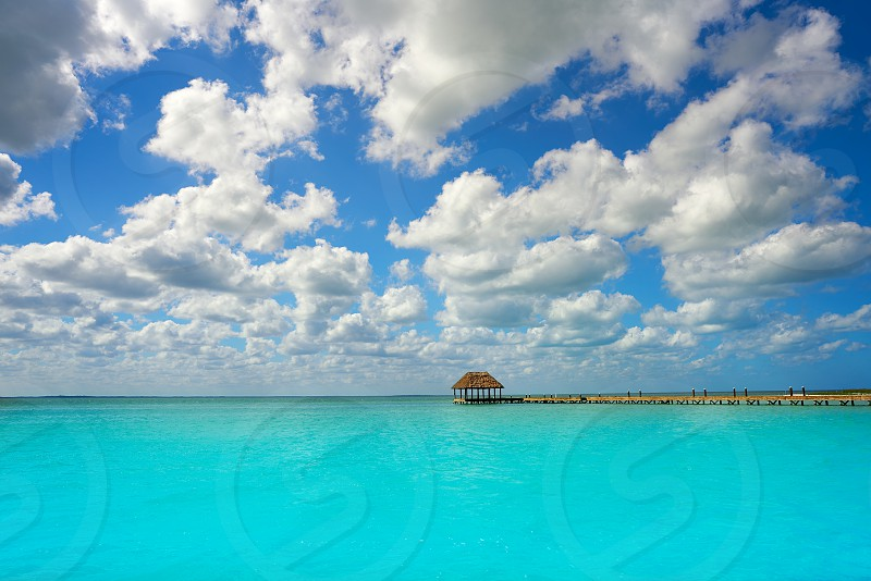 Holbox Island beach wooden pier hut in Quintana Roo of Mexico photo