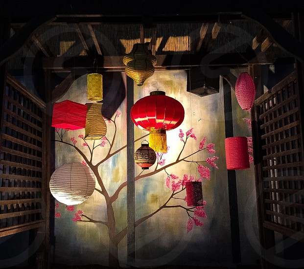 brown red and yellow lanterns painting photo