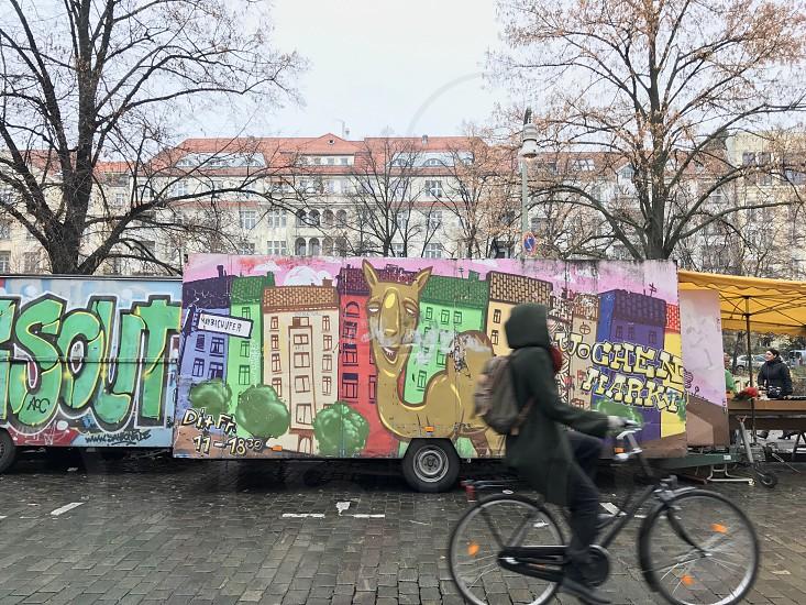 Berlin street flea market market shop truck cycling bicycle neighborhood  movement photo