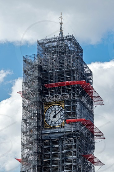 LONDON/UK - MARCH 21 : View of Big Ben Covered in Scaffolding in London on March 21 2018 photo