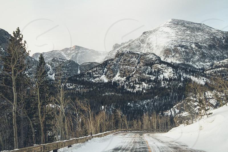 A snowy mountain road in Colorado photo