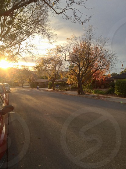 sunset above empty residential street photo