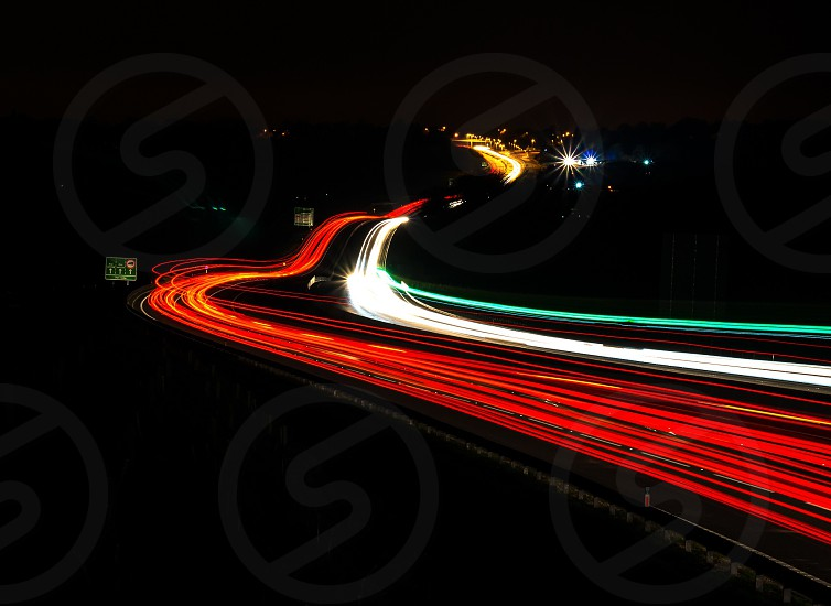 light road night lighttrail photo
