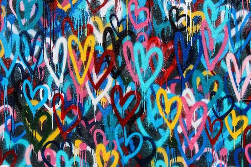 red blue pink green yellow hearts graffiti wall photo