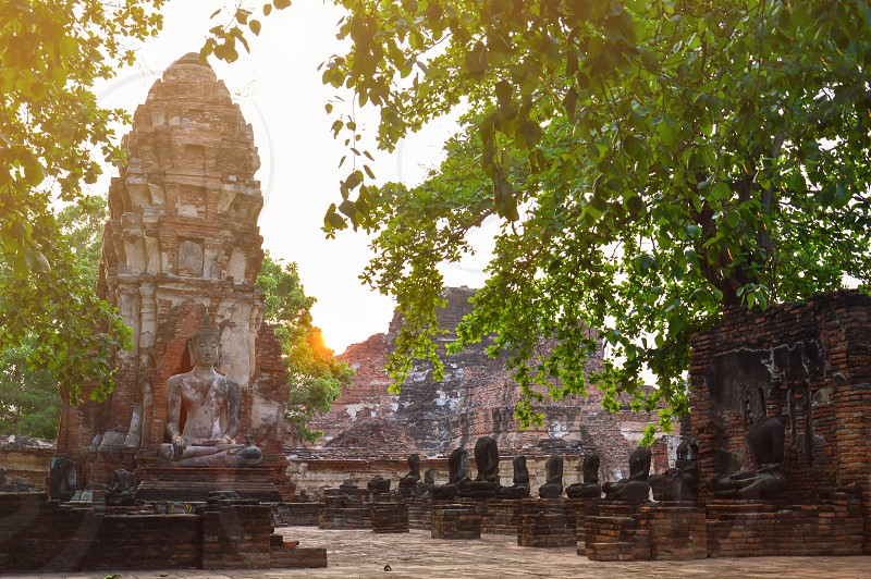 Wat Mahathat or Temple of the Great Relic a Buddhist temple located in the center of old Ayutthaya in Phra Nakhon Si Ayutthaya central province of Thailand. photo