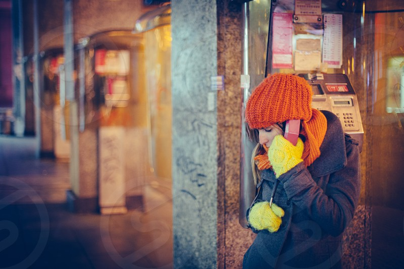 girl pay phone lonely love sickness photo