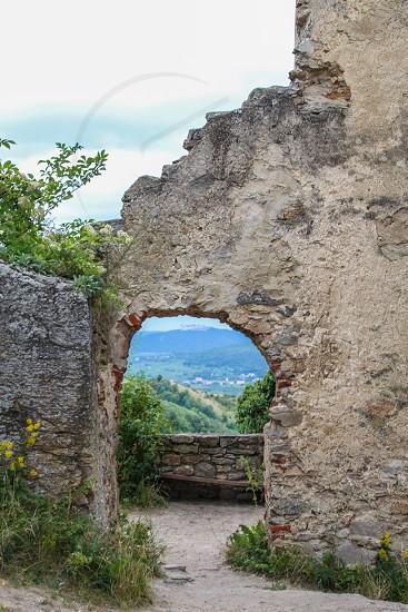 Door ancient stone castle ruins photo