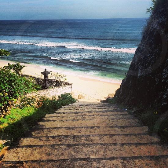 Bali Indonesia beach water stairs photo