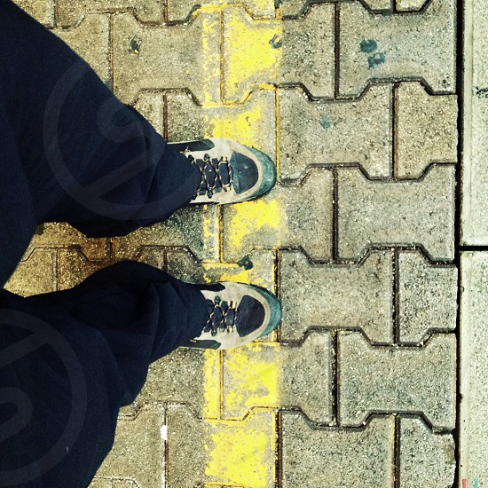 grey and green shoes photo