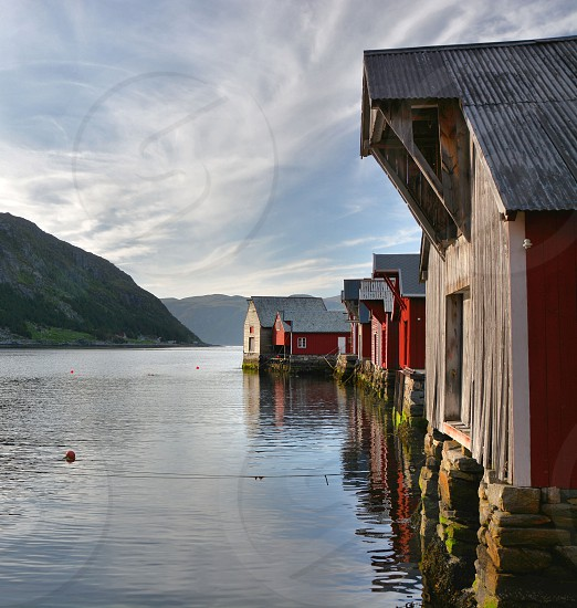 Traditional boat houses western Norway photo
