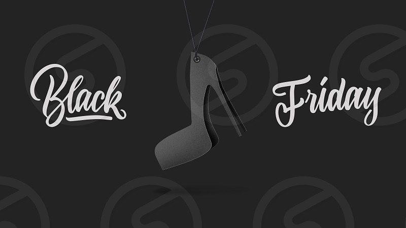 label in shape women's shoes on high hill made of cardboard on a gray background.a Calligraphic text black Friday and sales luxury premium style concept photo