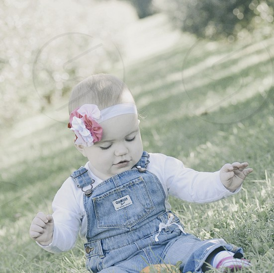 Baby girl outside outdoors natural light photo