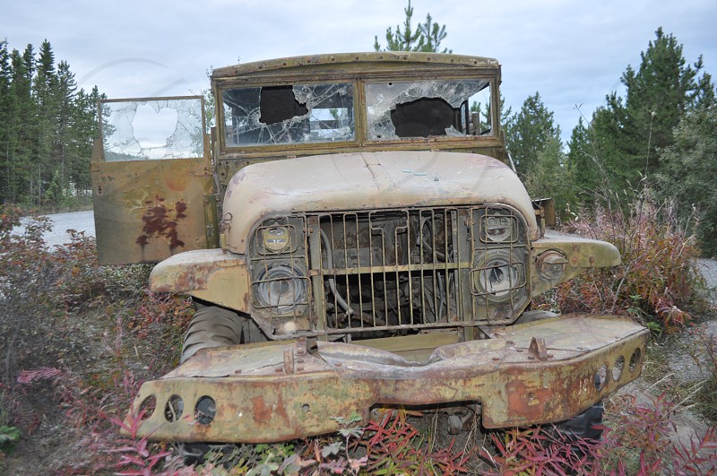 another vintage Army truck  rescued from the castoffs of the Alaskan highway and now rusting away in a Whitehorse campground photo