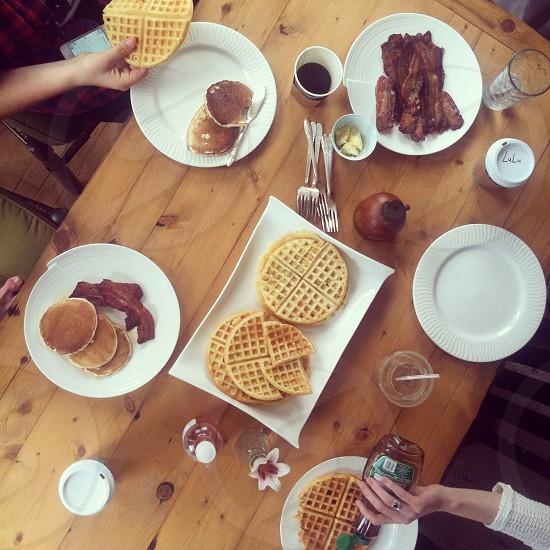 breakfast party breakfast waffles bacon brunch table friends coffee home autumn  photo