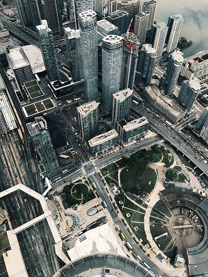 Toronto city birdseyeview downtown CN tower streets photo