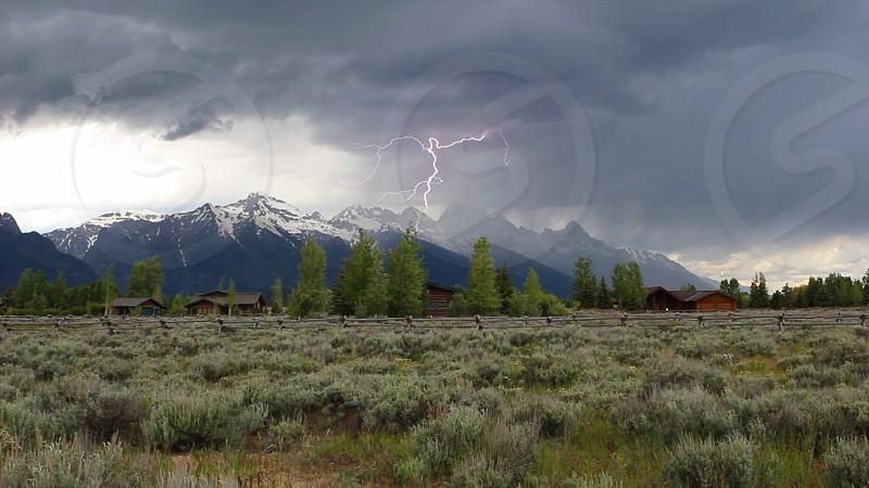 lightning grand tetons wyoming photo