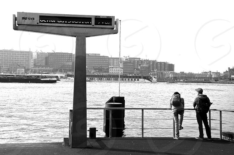B&W Amsterdam boat dock photo