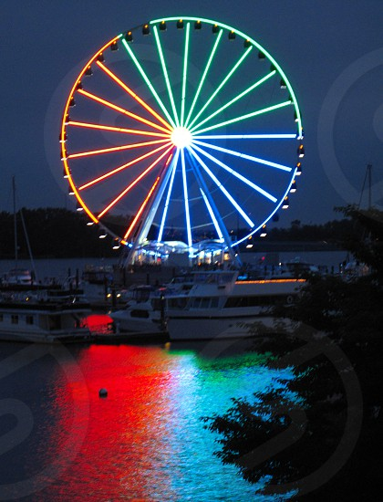 ferris wheel boats reflection water Potomac River amusement ride yachts tree National Harbor Washington D.C. photo