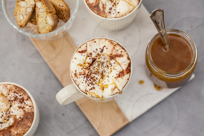 Hot chocolate milk with salted caramel photo