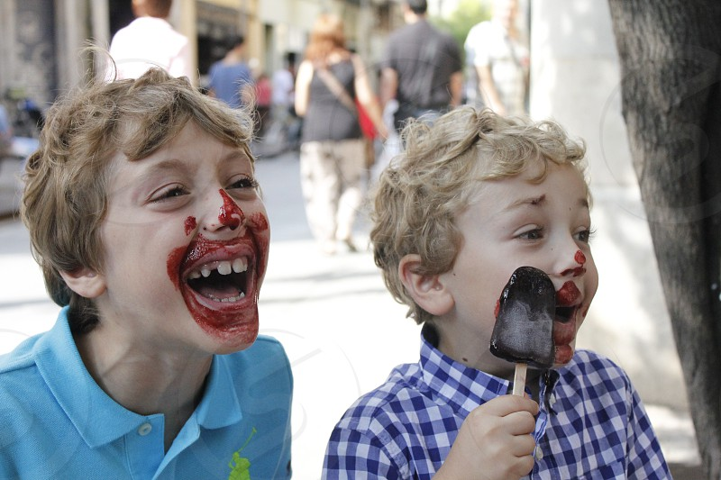 boys eating ice cream photo