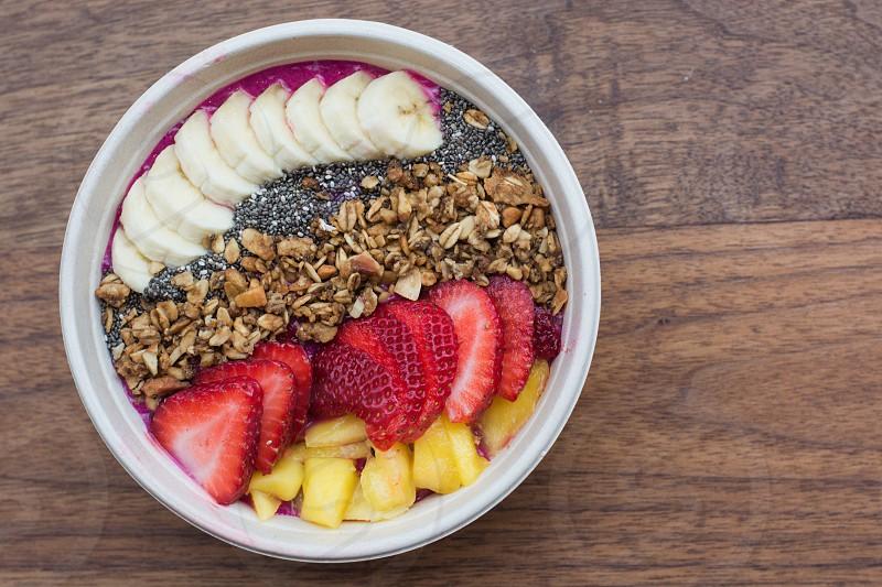 fruit bowl bananas chia seeds strawberries mango smoothie photo