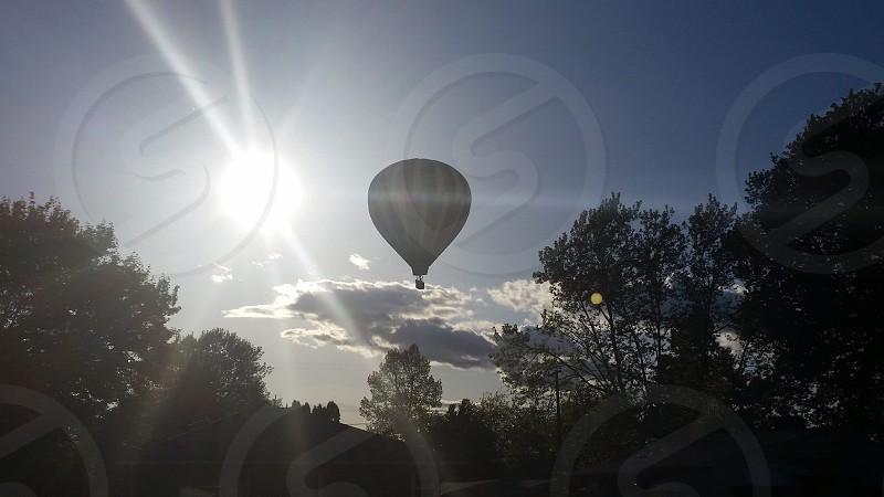Hot air balloon sunset photo