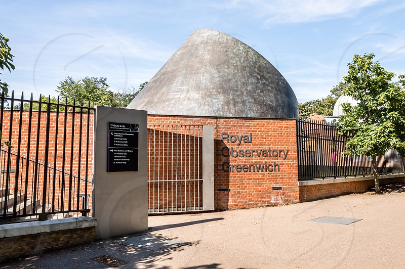 Entrance to the Royal Observatory Greenwich next to the meridian line. photo