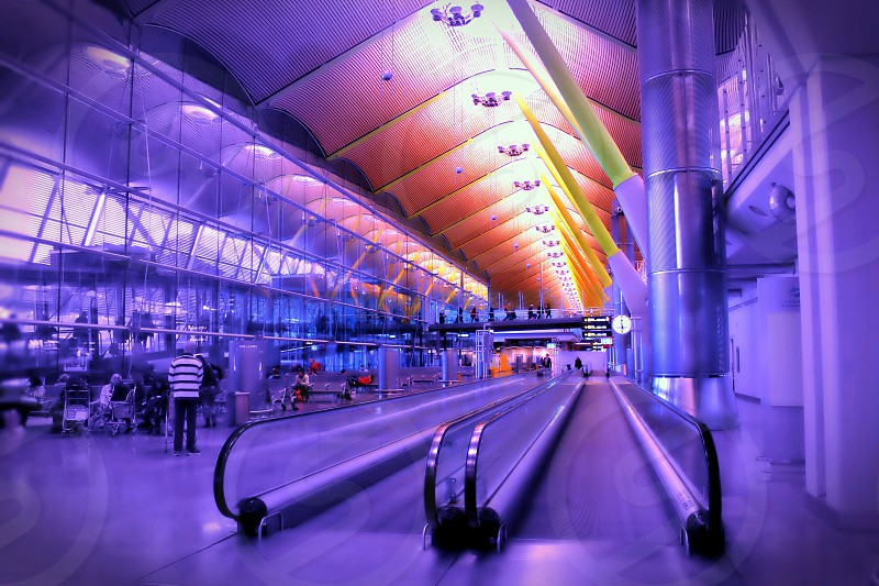 view of flat moving walkway photo