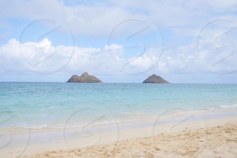 Lanikai Beach Kailua Hawaii Oahu island tween island aka na mokulua islands view photo