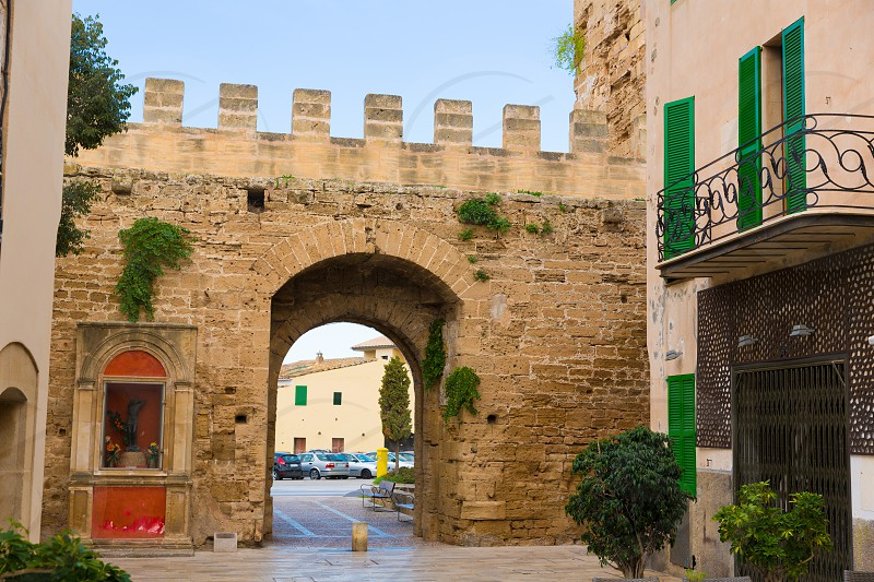 Alcudia Porta de Mallorca in Old town at Majorca Balearic islands of Spain photo