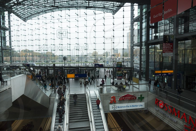 View from the rear to the glass front of the Berlin Hauptbahnhof in Berlin. photo