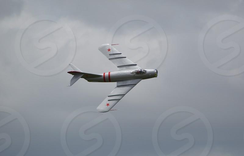 white airplane on flight photo