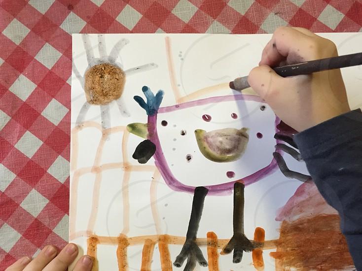 Kid art kid painting little fingers paintbrush paint kid fun photo