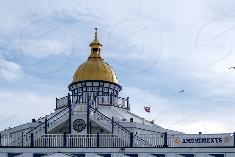 EASTBOURNE EAST SUSSEX/UK - NOVEMBER 4 : View of the Camera Obscura on Eastbourne Pier in East Sussex on November 4 2018 photo