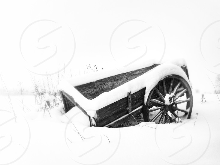 Winter snow snowy carriage wagon trolley broken old black and white bright  photo