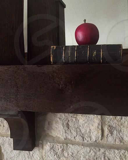 Apple fruit book bible mantle home decor decoration interior design stone wood photo
