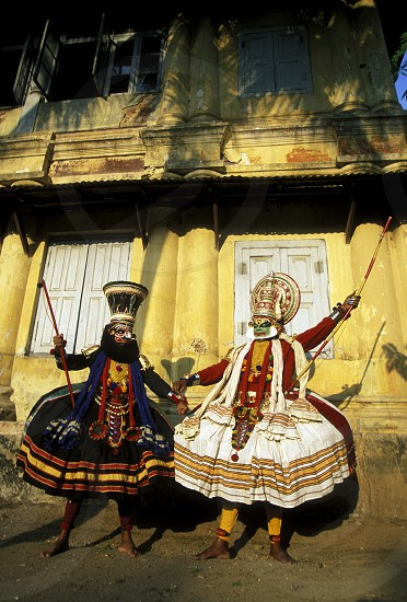 The  Kathakali Dancer in the city of Kochi in the province Kerala in India. photo