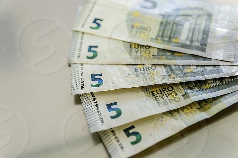 Euro paper money banknote of 5 denomination photo