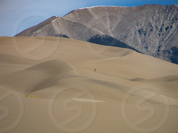 Find a solitary trekker in Great Sand Dunes National Park in Colorado at the foot of Mt. Herard photo