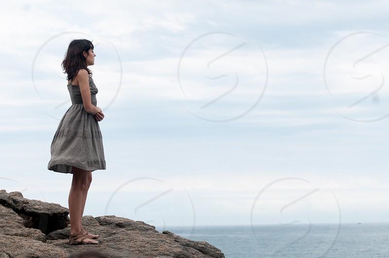 sad getting thru a bad moment depression ocean pain woman sad getting better  photo
