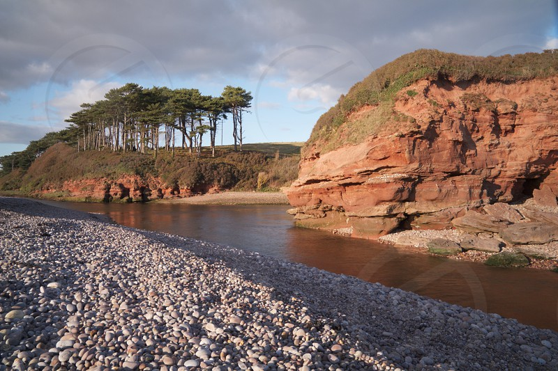 The famous trees and red cliffs overlooking the River Otter at Budleigh Salterton Devon UK. photo