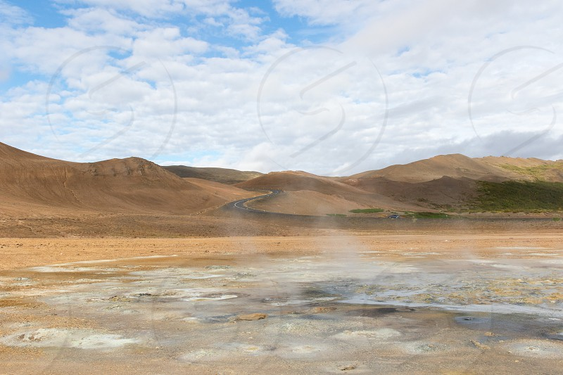 The Namafjall Hverir geothermal area in Myvatn Iceland photo