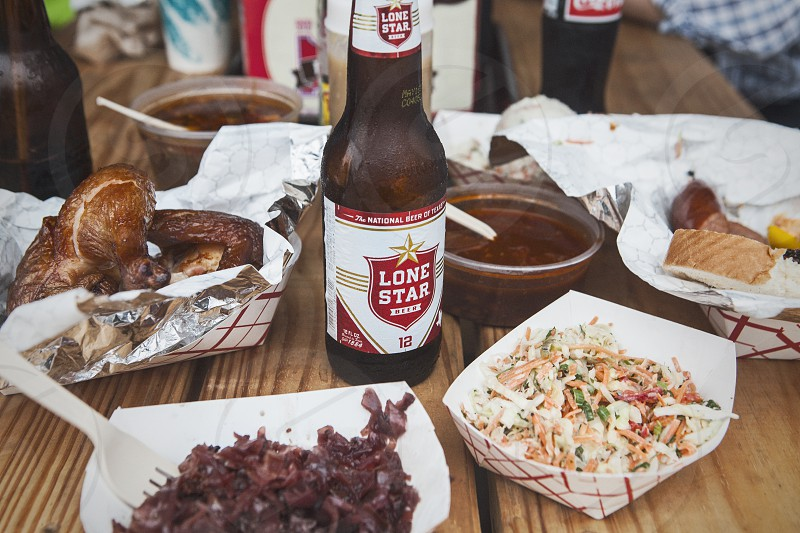 beer bbq barbeque barbecue texas sides coleslaw chicken smoke smoked meat bottle  photo