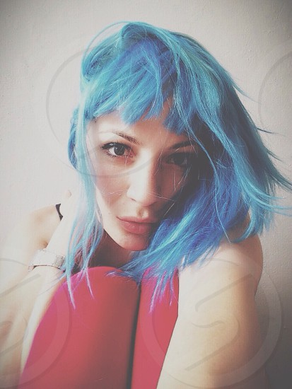 person with blue hair photo