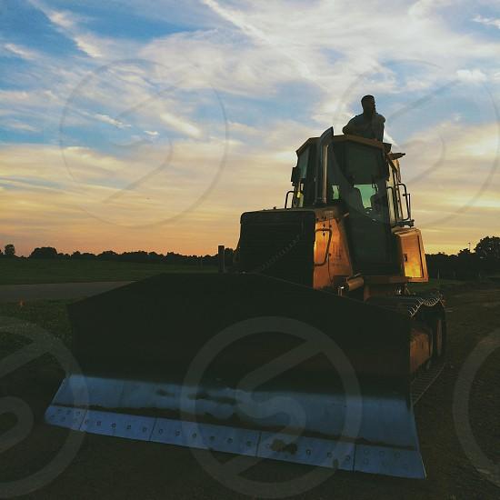 orange bulldozer photo
