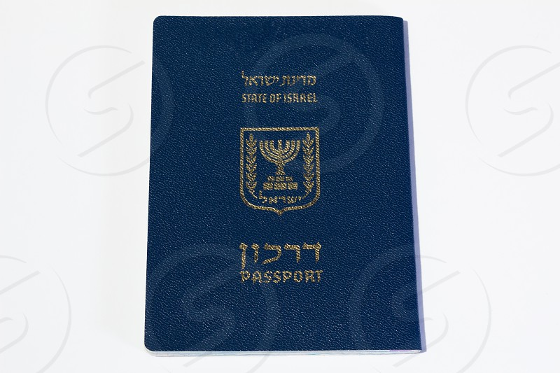 Israeli passport on white background - Top View. photo