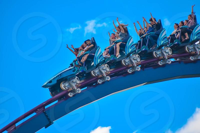 Orlando Florida . February 26  2019. People having fun amazing Mako rollercoaster at Seaworld Theme Park (2) photo